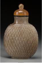 A Chinese Brown Jade Basket Weave Snuff Bottle, Qing Dynasty, 18th/ 19th century