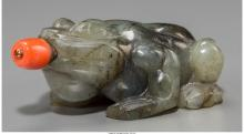 A Chinese Carved Labradorite Toad-Form Snuff Bottle with Coral Stopper 2-7/8 inc