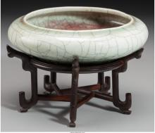 A Chinese Celadon Geyao Brush Washer, Song Dynasty, circa 960-1279 1-1/2 inches