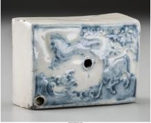 A Korean White and Blue Porcelain Water-Dropper, Joseon dynasty, circa 1392-1897