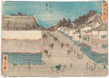 Utagawa Hiroshige I (Japanese, 1797-1858) Night View Kasumigaseki, from Famous P