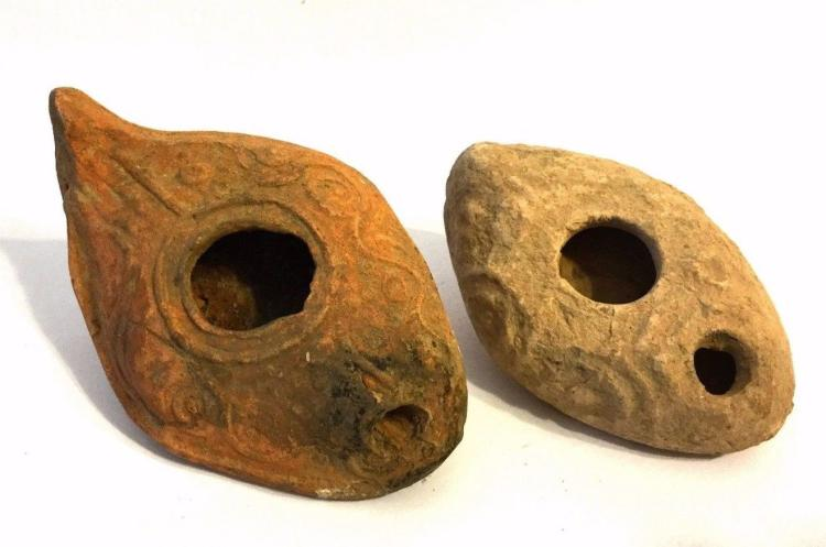 2 Roman clay oil lamp
