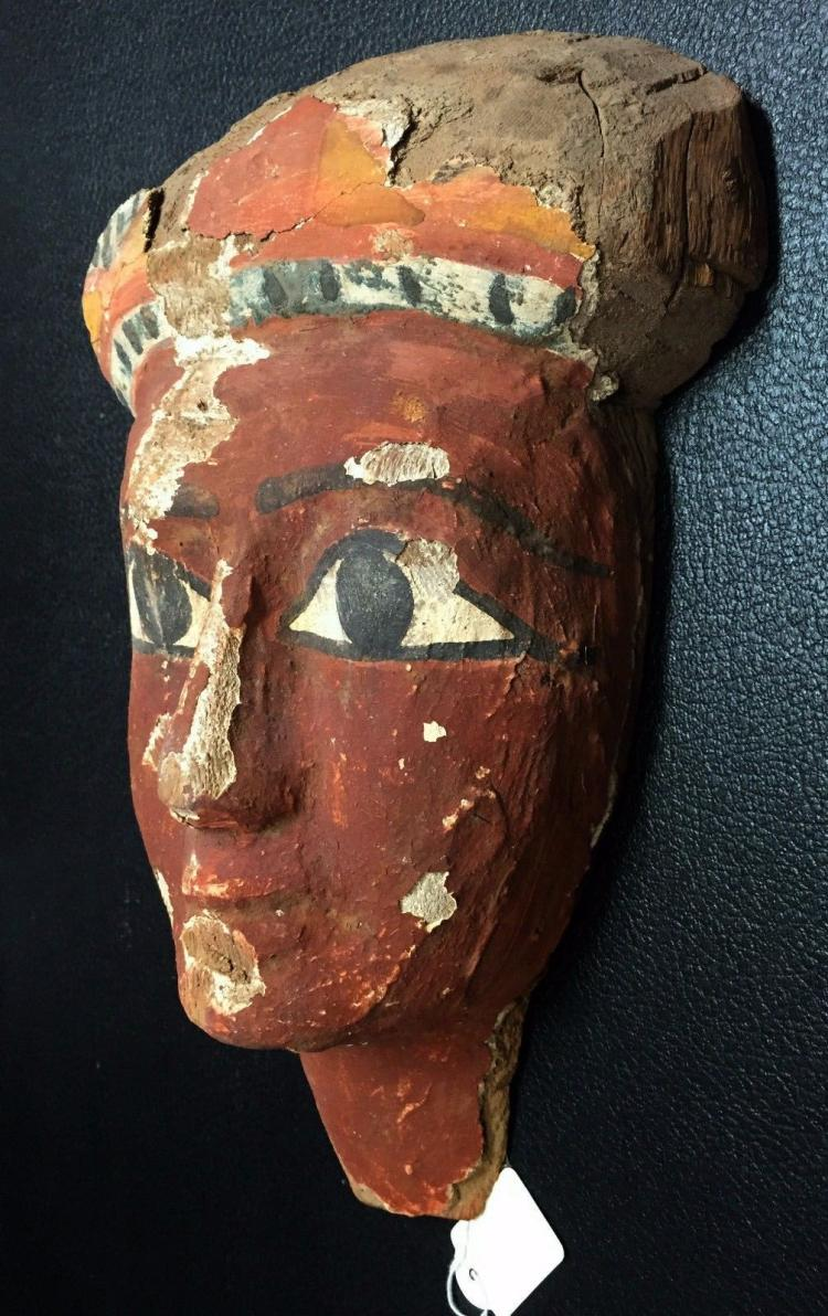 Large Ancient Egyptian wood mummy mask