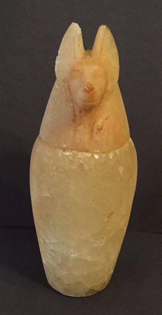 Ancient Egyptian Alabaster Canopic Jar Jackal Head .