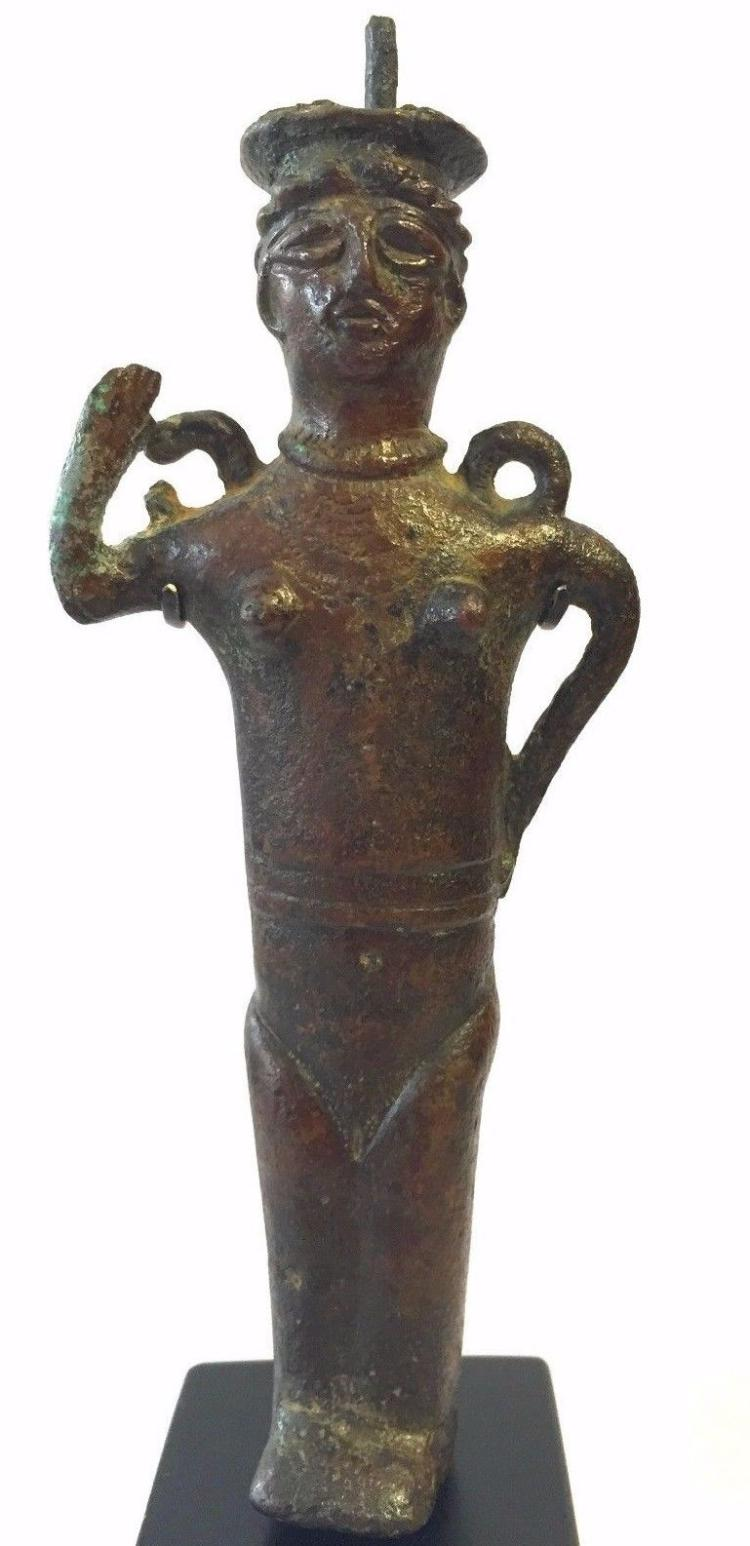 Ancient Near Eastern standing Bronze Kohl Vessel Figure