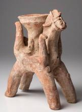 Ancient Amlash Clay offering Bowl on Horseback
