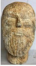 Ancient Roman (barbarian) carved limestone head Bearded