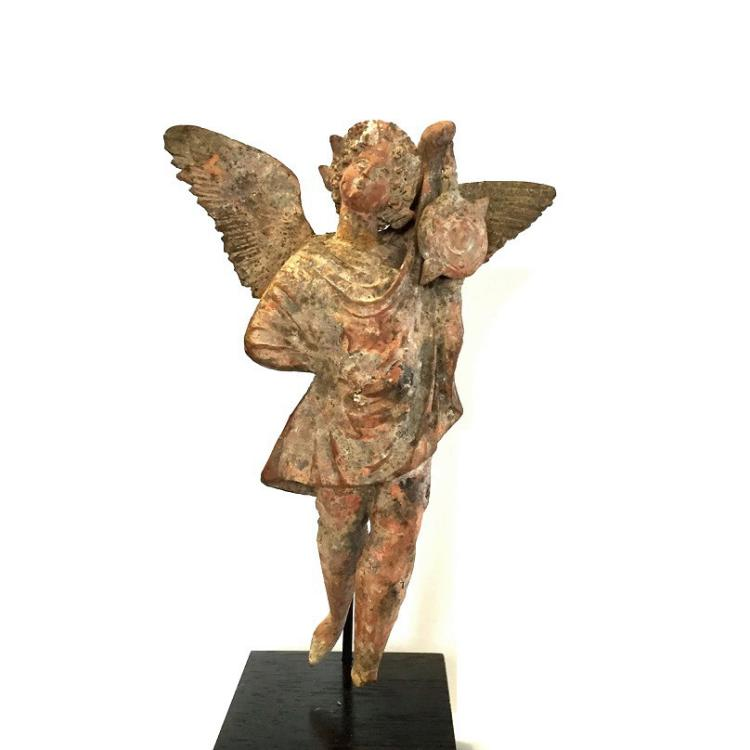 Ancient Greek Terracotta statuette of Eros flying