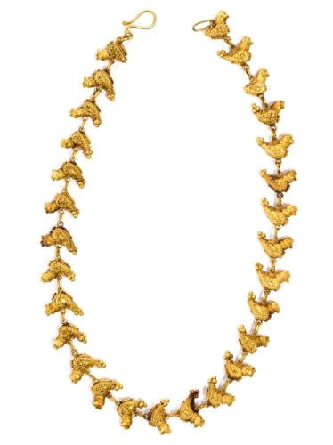 Ancient Near Eastern Gold Granulated Bird Necklace