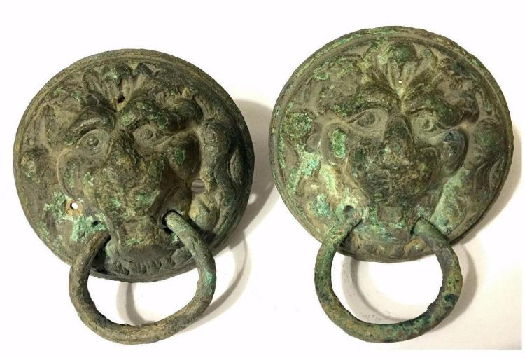 Pair of Ancient Roman Bronze Lion Mask Handles.