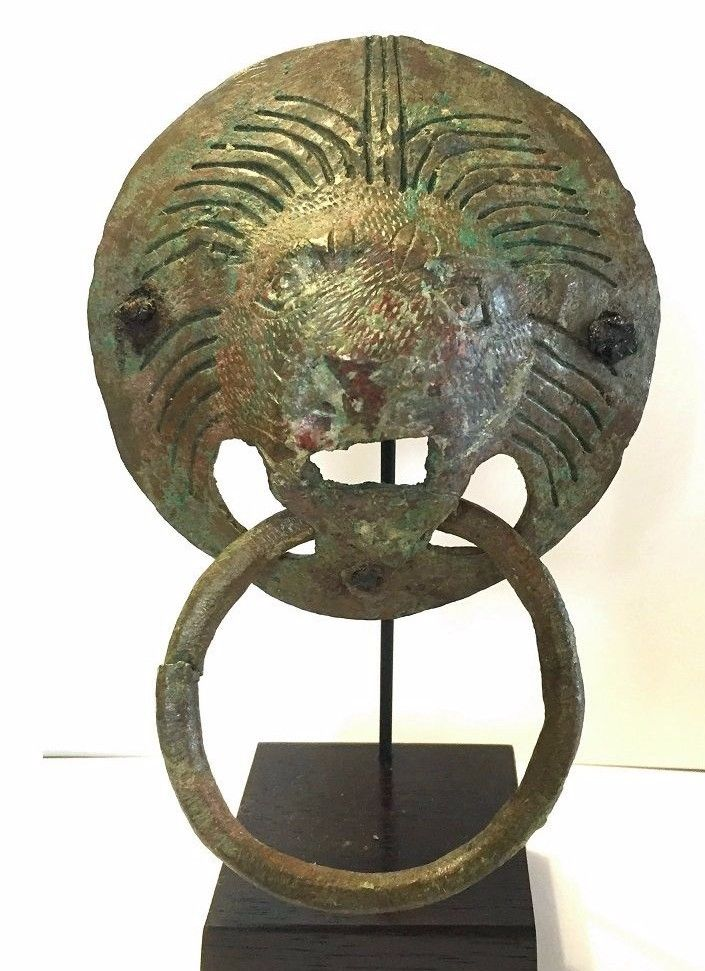 Ancient Roman Bronze Lion Mask Handles.