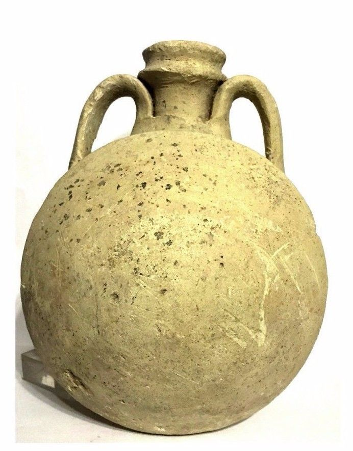 Large Roman bichrome pilgrim flask.
