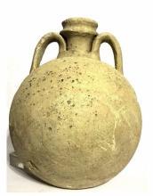 Large Roman bichrome pilgrim flask.