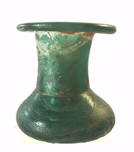 Ancient Roman Glass Squat Candlestick.