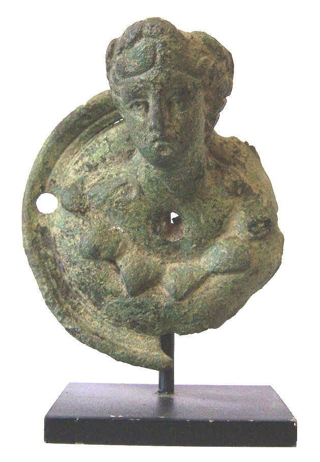Ancient Roman Bronze Bust of a Satyr.