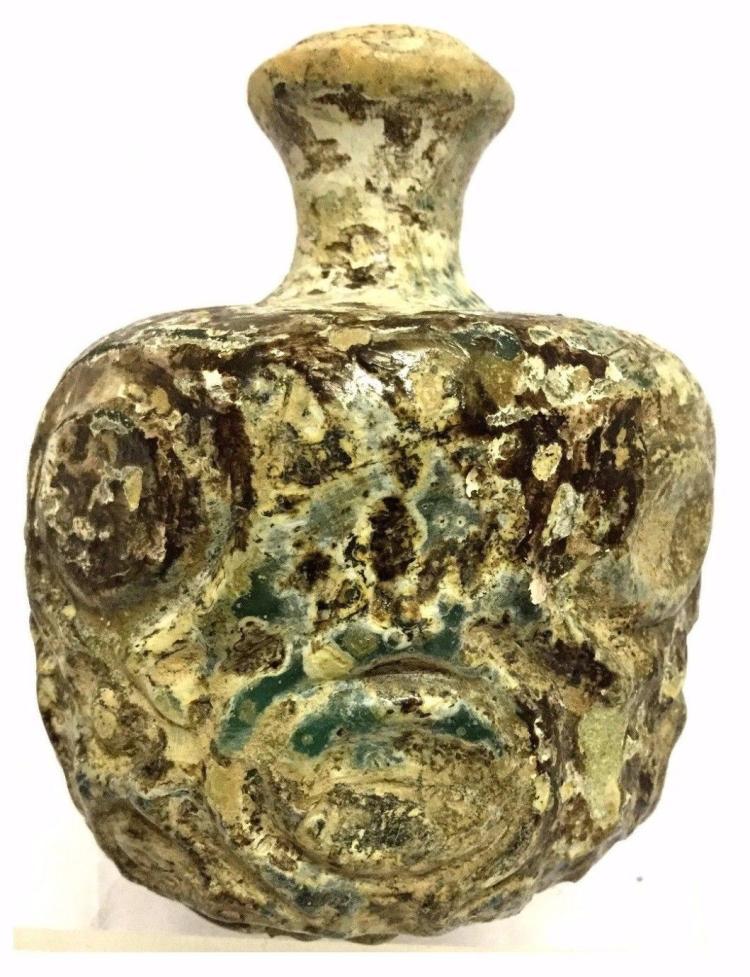 Large Ancient Islamic Glass Jar .
