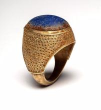 Ancient Lapis Cabochon in Gold Finger Ring.