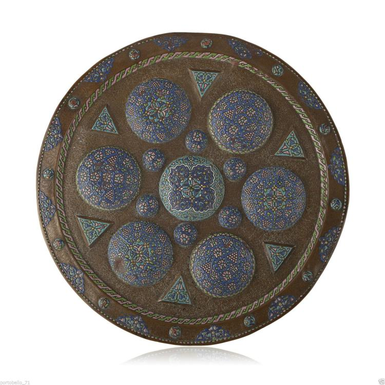 Larg Islamic Syrian Engraved Copper and enameling Tray.