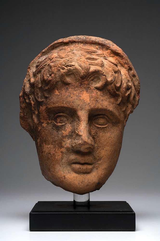 Ancient Greek Etruscan Pottery Votive Head.