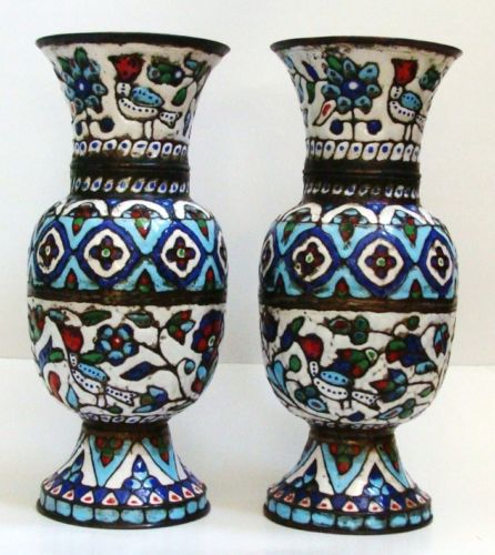 Pair Of Islamic Syrian Enameled Copper Vases.