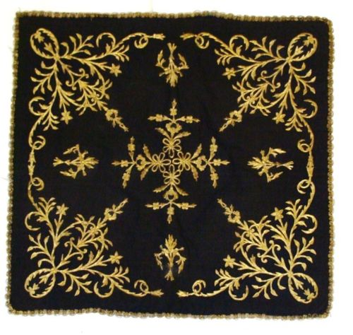 Antiques ottoman Turkish textile Gold embroidery .