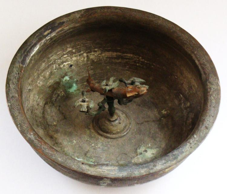 Antique Islamic Copper Bowl .