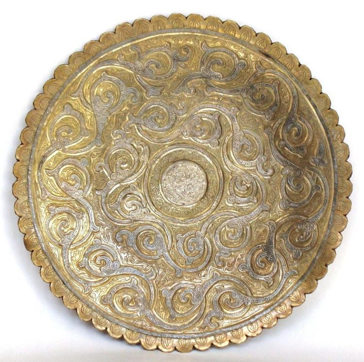 Islamic Syrian Copper Silver inlaid Tray .