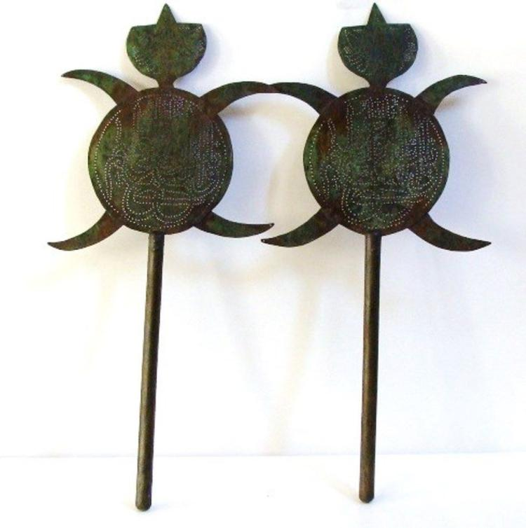 Pair of Islamic Persian Flag Pole Top Topper .