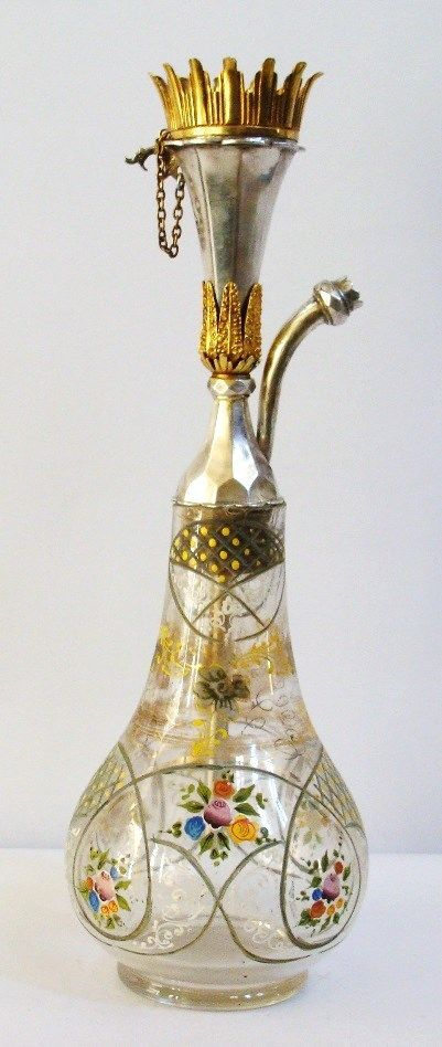 Antique Islamic Ottoman Solid Silver Bohemian Hookah .