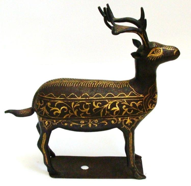 Antique Islamic Deer inlaid gold and silver.