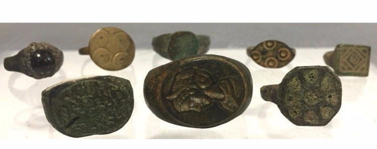 Lot 0f 8 Ancient Roman Empire Bronze Rings.