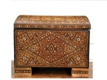 Large Syrian Mosaic Moorish Mother of Pearl Chest.