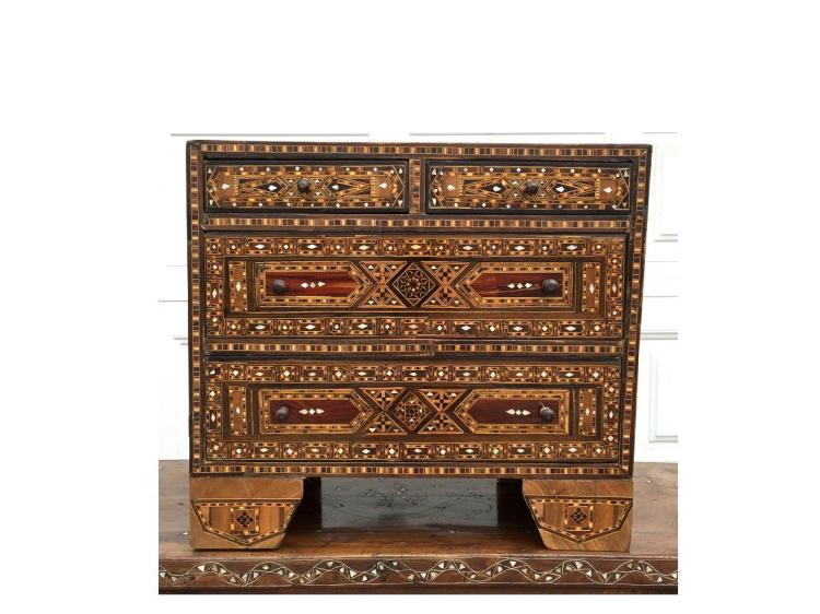 Large Syrian Mosaic Moorish chest of drawers.