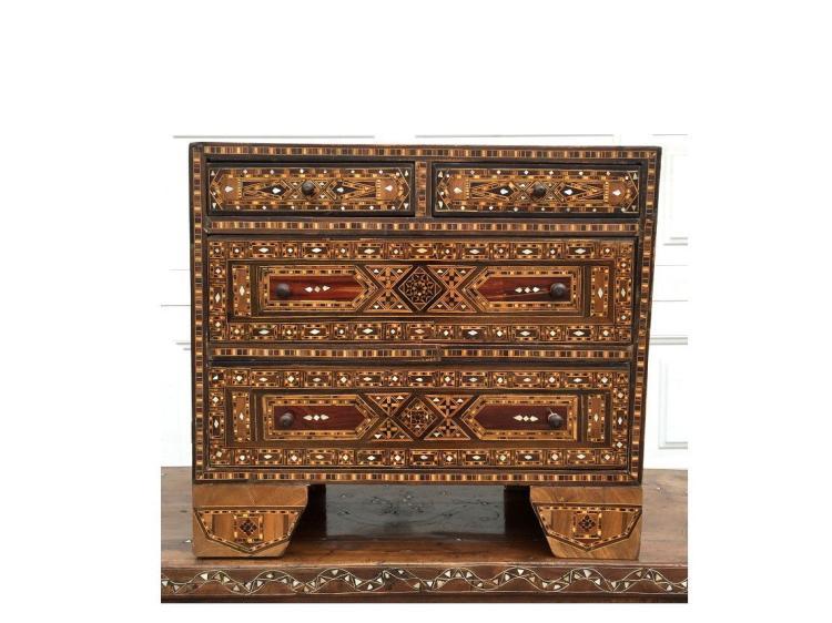 Large Syrian Mosaic Moorish chest of drawers.