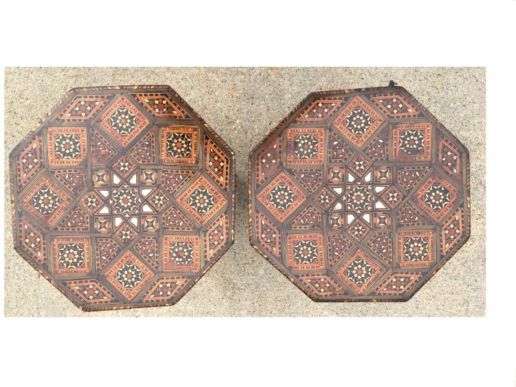 Pair of Syrian Mosaic Moorish Mother of Pearl Table.