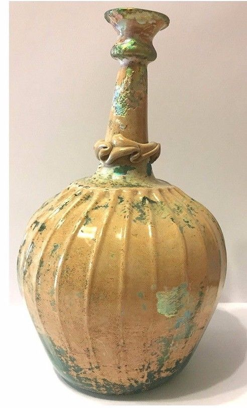 RARE Ancient Roman Glass Bottle. 8in