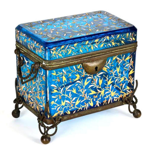 Antique Moser Bohemian blue enameled glass Casket box.