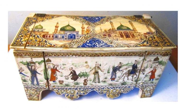 Islamic Persian bone Hand Painted Jewelry Box.
