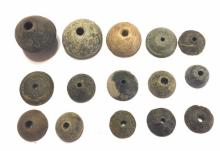 Lot of 15 Ancient Roman Stone Spindle Whorl .