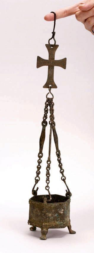 Ancient Byzantine Bronze Hanging Incense Burner w Cross.