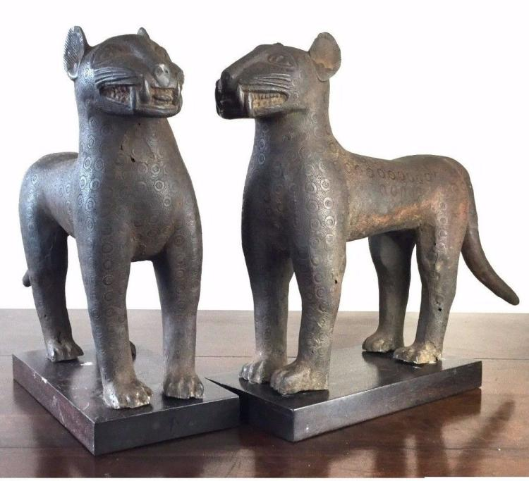Large Pair of African Bronze Leopard Statues .