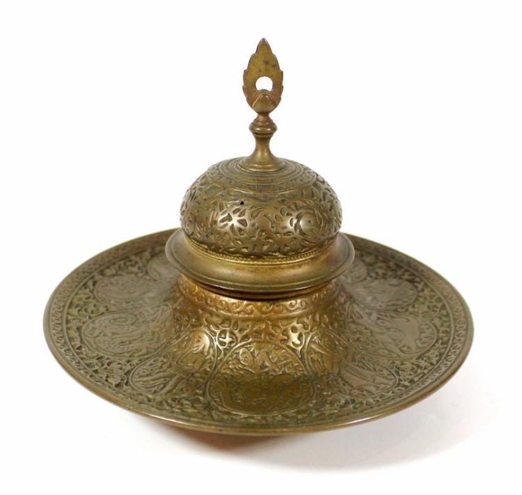 Islamic Persian brass inkwell .
