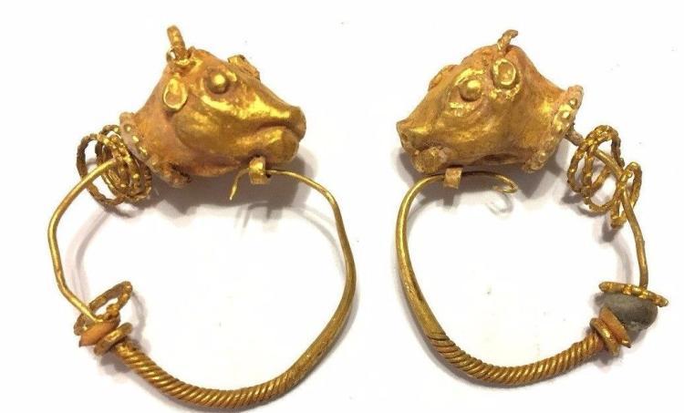 Pair of Ancient NearEastren Gold Earrings Bull's Head.