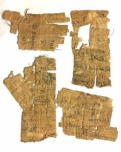 Group of Egyptian document fragments with Coptic script .