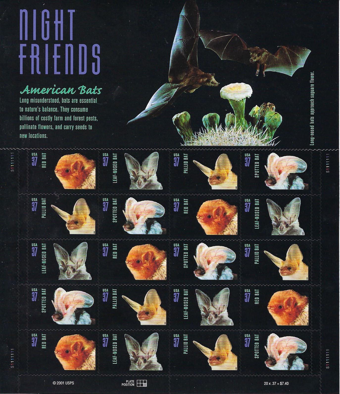 American Bat Stamp Sheet