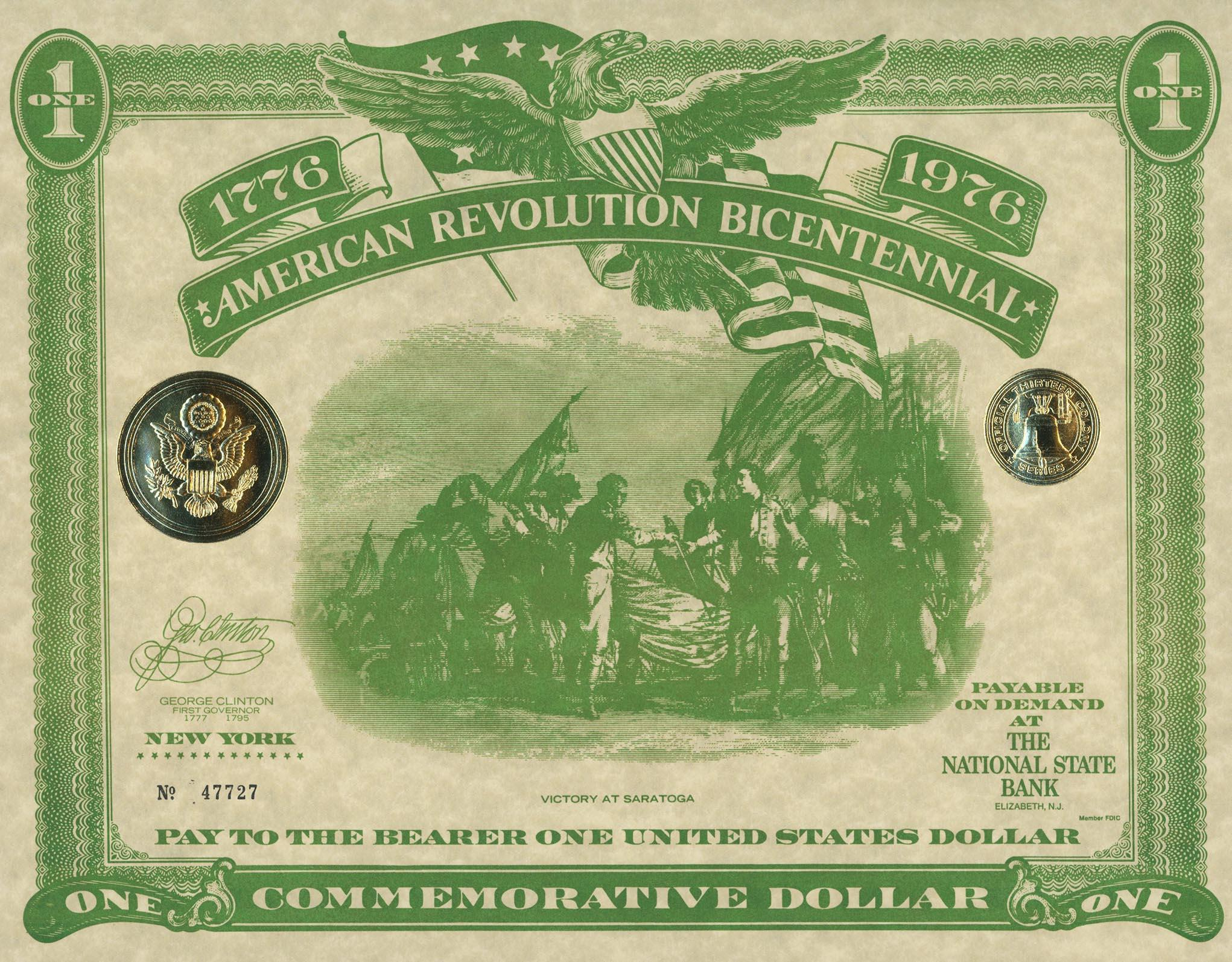 American Revolution Bicentennial Commemorative One Dollar Certificate/First Day Cover - New York