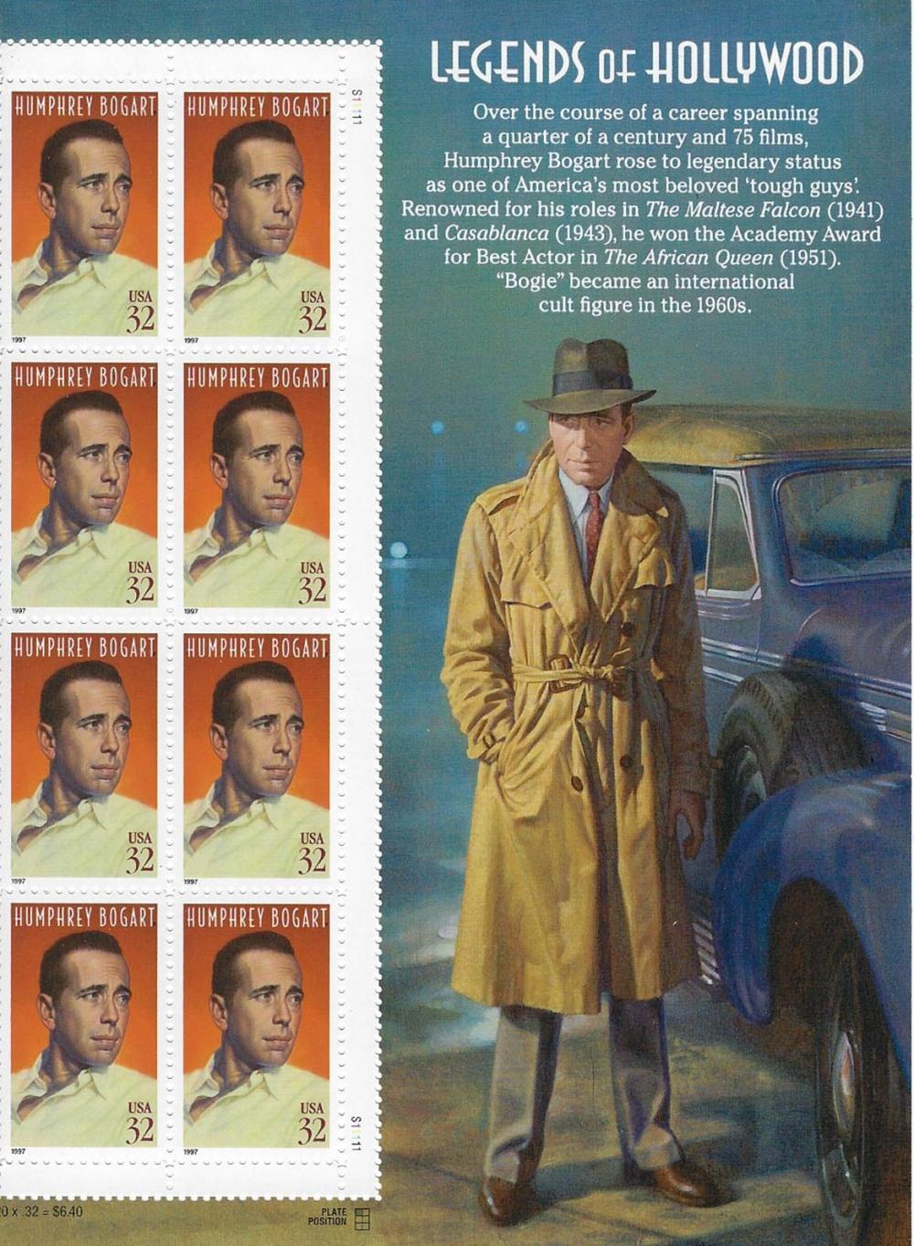 Legends of Hollywood Humphrey Bogart stamp sheet 8 x 32 cent stamps