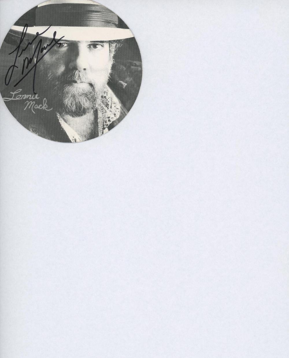 Lonnie Mack signed record sticker