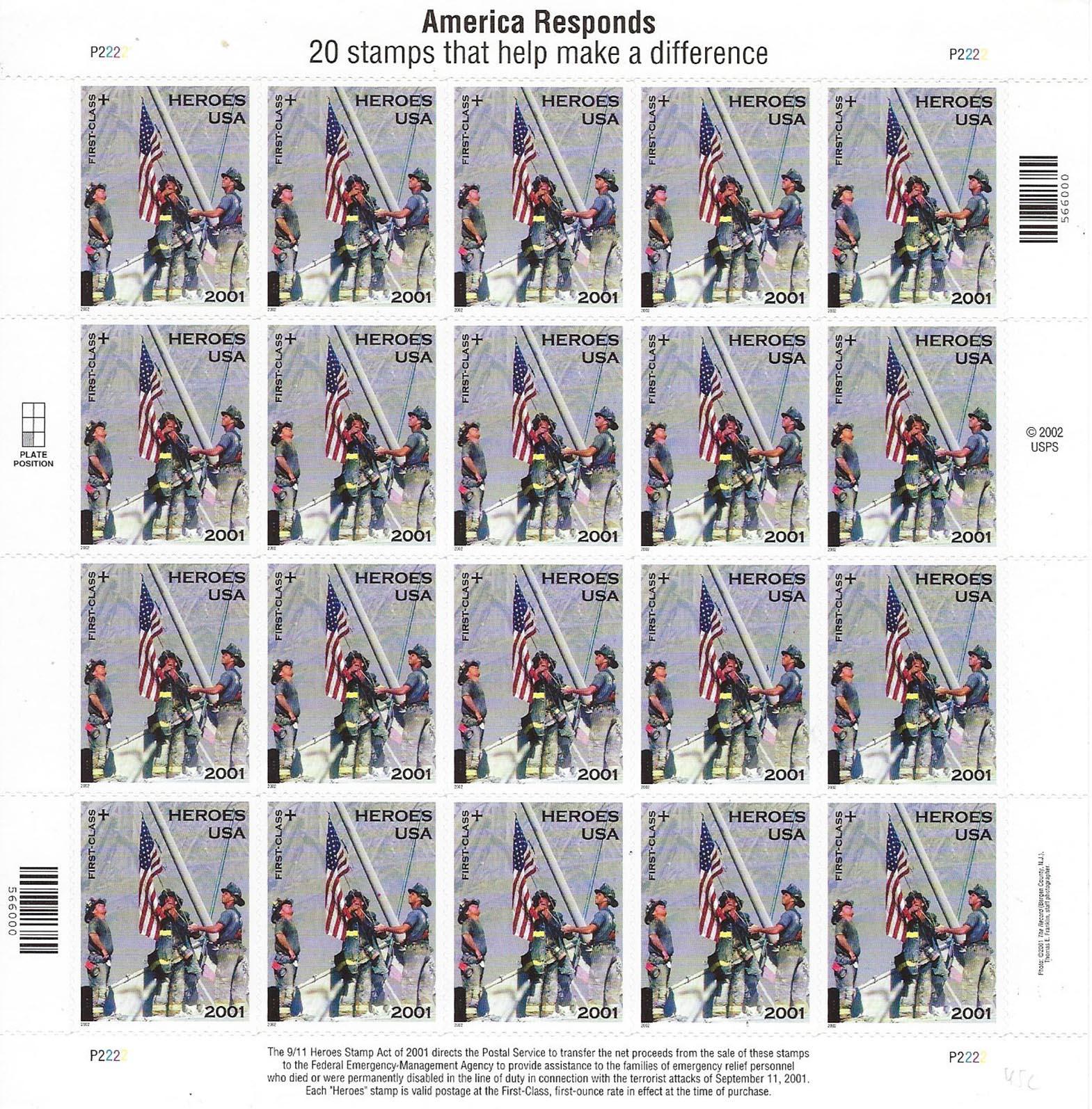 America Responds Heroes stamp sheet