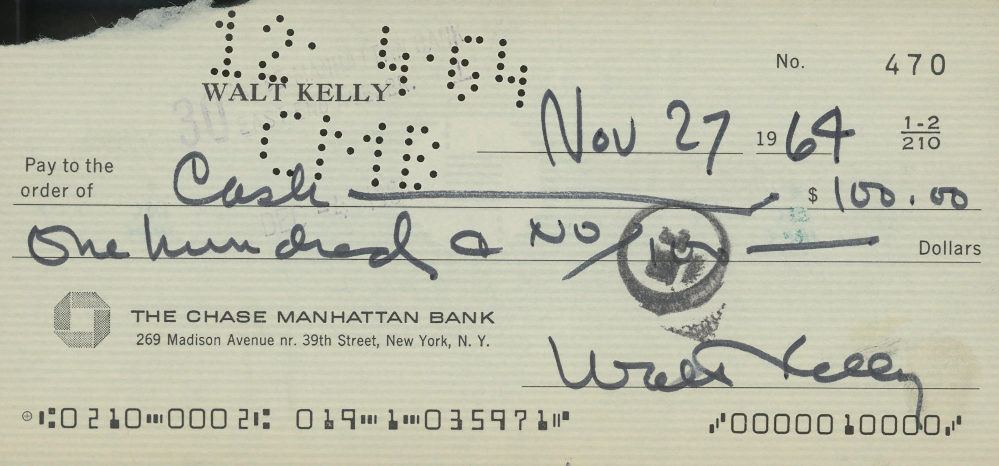 Walt Kelly signed check